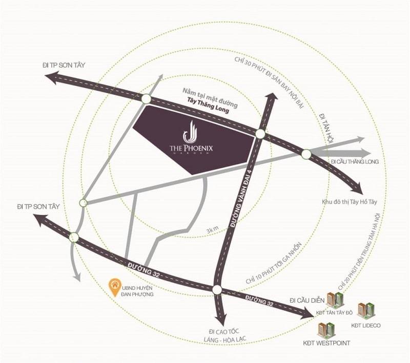 Kinh nghiệm đi Phoenix Garden Đan Phượng, bản đồ Phoenix Garden Đan Phượng