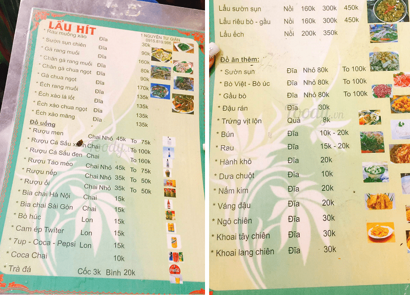 Quán lẩu ngon Hà Nội, lẩu riêu cua sườn sụn Hà Nội, menu của quán lẩu Hít