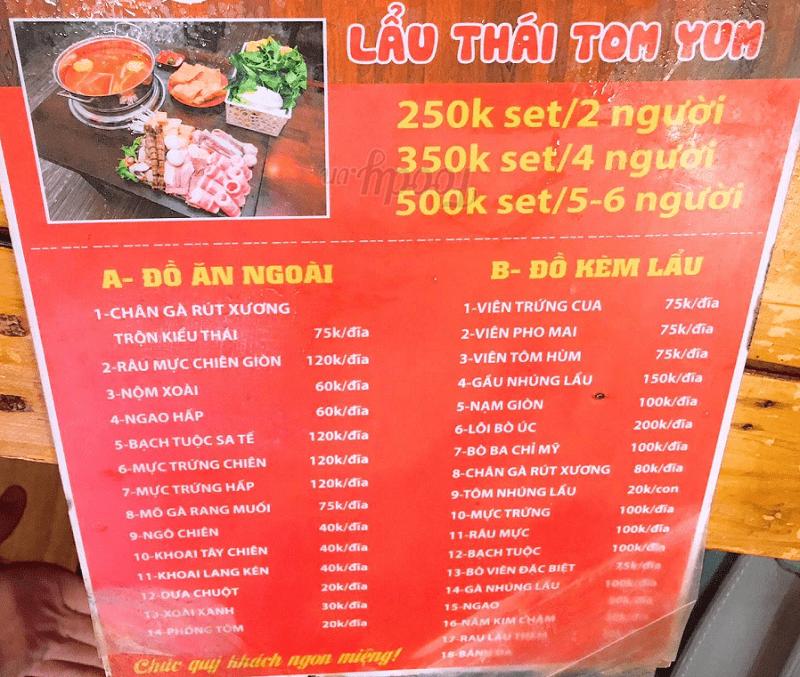Quán lẩu Thái Ngon Hà Nội, Menu của quán Ngói