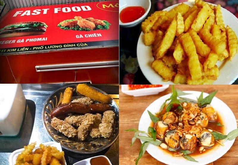 Các quán ăn ngon ở quận Đống Đa Hà Nội. Quán ăn vặt Fast food - Mót. Quán ăn vặt ở quận Đống Đa Hà Nội