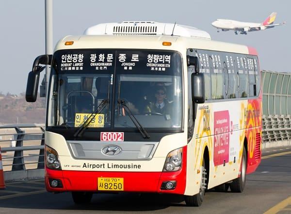 Đi từ sân bay Incheon tới thủ đô Seoul bằng xe bus đưa đón sân bay