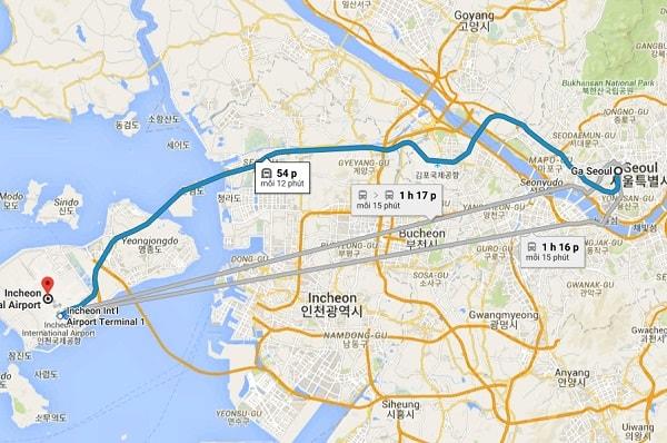 Đi từ sân bay Incheon về Seoul, khoảng cách từ sân bay Incheon đến ga Seoul