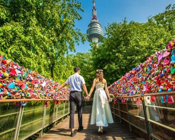 Địa điểm chụp ảnh cưới ở Hàn Quốc. Địa điểm chụp hình cưới nổi tiếng ở Hàn Quốc. Tháp Namsan
