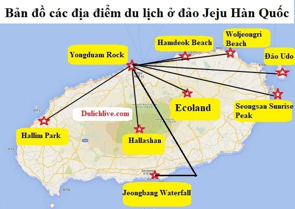 Bản đồ các địa điểm du lịch ở Jeju Hàn Quốc
