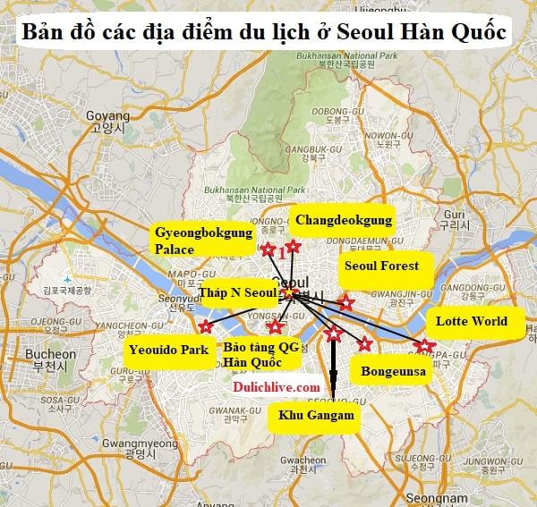 Bản đồ các địa điểm du lịch ở Seoul Hàn Quốc