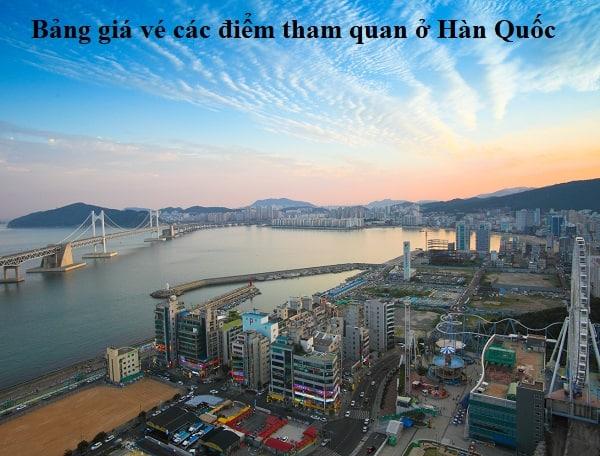 Bảng giá vé vào cổng, tham quan các địa điểm du lịch ở Hàn Quốc