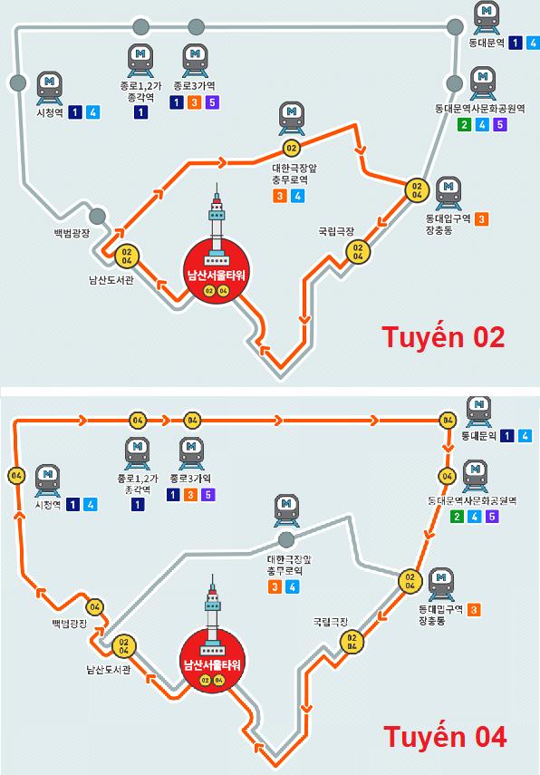 Kinh nghiệm đi tháp Namsan, đi đến tháp Namsan Seoul bằng xe bus