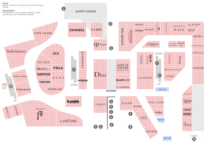 Kinh nghiệm mua sắm ở Lotte Duty Free Hàn Quốc, các gian hàng ở tầng 12