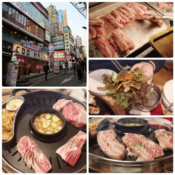 Nhà hàng buffet thịt nướng ở Seoul, Hàn Quốc. Buffet thịt nướng ở Dwae-ji Sanghoe