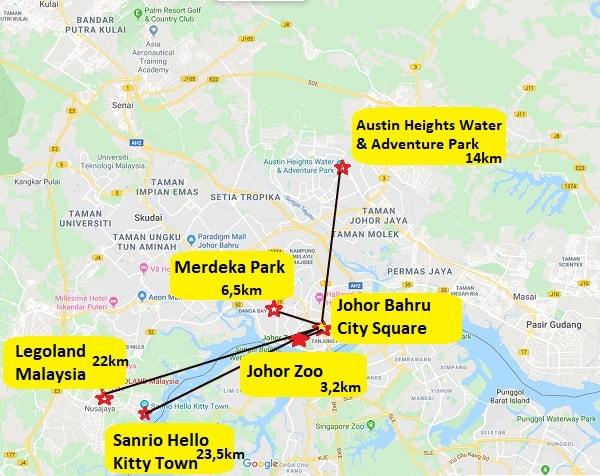 Bản đồ các địa điểm du lịch ở Johor Bahru Malaysia mới nhất