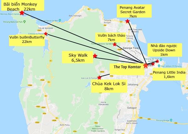 Bản đồ các địa điểm du lịch ở Penang, Malaysia chi tiết