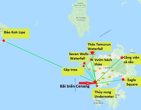 Bản đồ các địa điểm tham quan ở Langkawi chi tiết