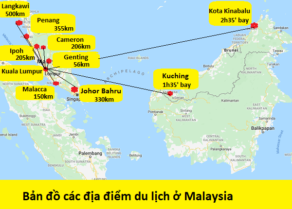 Bản đồ du lịch Malaysia tổng hợp chi tiết. Bản đồ các địa điểm du lịch, tham quan nổi tiếng ở Kuala Lumpur