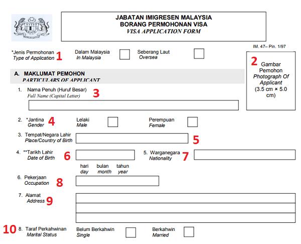 Hướng dẫn điền form xin visa Malaysia chi tiết. Điền đơn xin visa Malaysia như thế nào?