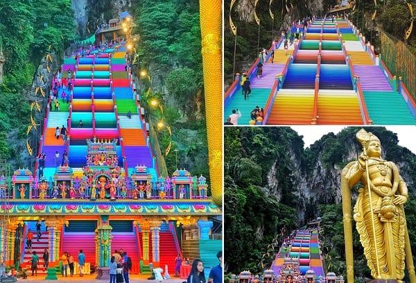 Kinh nghiệm đi động Batu Caves, những bậc cầu thang đầy màu sắc dẫn lên Temple Cave