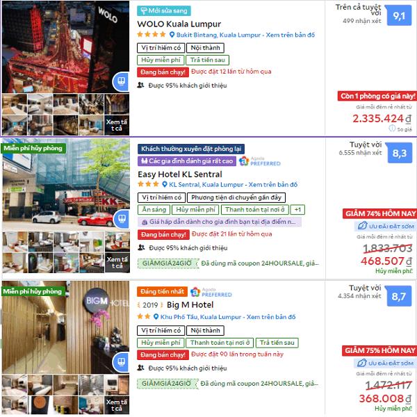 Du lịch Malaysia cần bao nhiêu tiền, chi phí khách sạn ở Malaysia