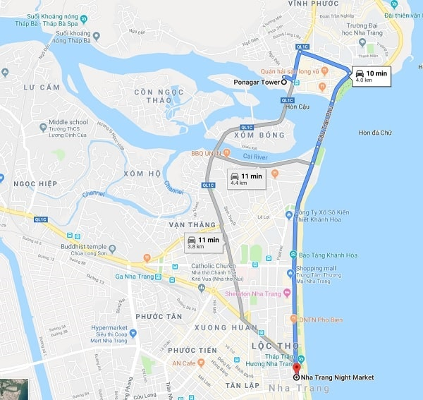 Hướng dẫn đường đi du lịch Tháp Bà Ponagar Nha Trang: Kinh nghiệm du lịch Tháp Bà Ponagar