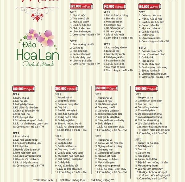 Hướng dẫn du lịch đảo Hoa Lan: Bảng giá thực đơn nhà hàng trên đảo Hoa Lan