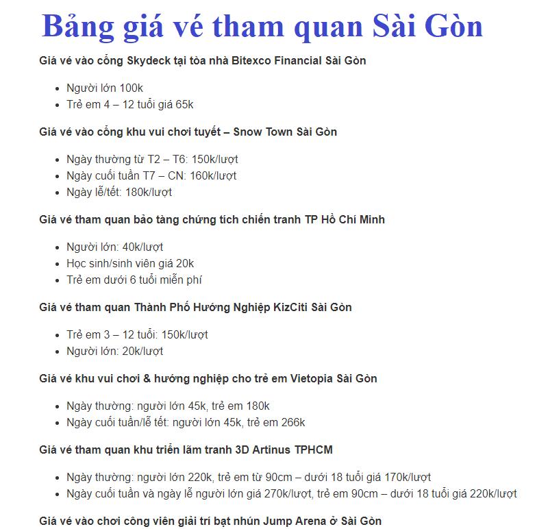Bảng giá vé tham quan Sài Gòn, TP Hồ Chí Minh