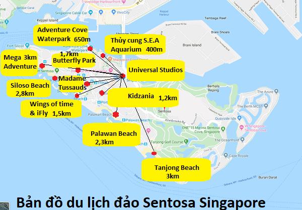 Bản đồ các địa điểm du lịch ở đảo Sentosa Singapore