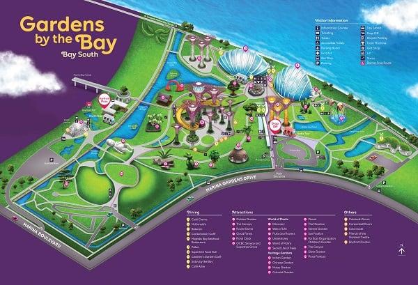 Bản đồ các địa điểm tham quan ở Gardens by the Bay Singapore. Bản đồ du lịch Singapore