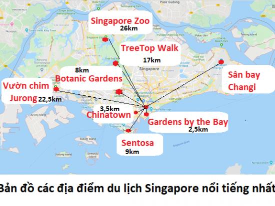Bản đồ du lịch Singapore tổng hợp mới nhất. Bản đồ các địa điểm tham quan ở Singapore