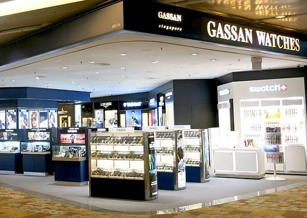Cửa hàng duty free ở Singapore, cửa hàng đồng hồ Gassan Watches