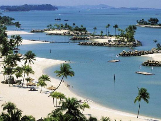 Bãi biển ở Singapore. Bãi biển đẹp nhất ở Sinagpore. Bãi biển ở đảo Sentosa