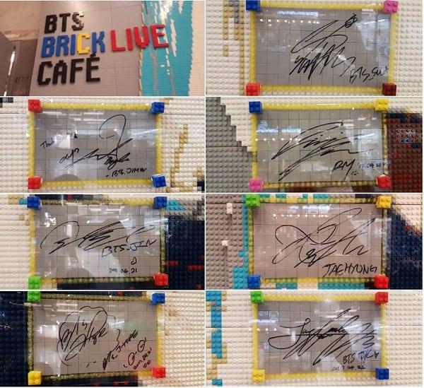 Chữ ký của các thành viên BTS tại BTS Brick Live Cafe