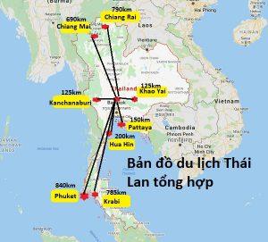 Bản đồ du lịch Thái Lan tổng hợp chi tiết: Bản đồ các địa điểm du lịch ở Thái Lan mới nhất