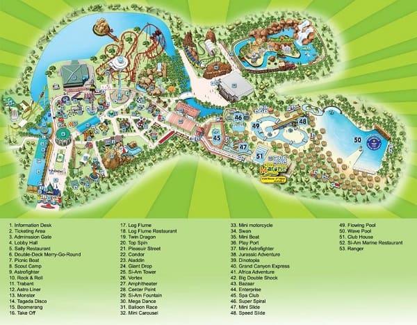 Bản đồ khu vui chơi trong công viên Siam Park City, Bangkok Thái Lan