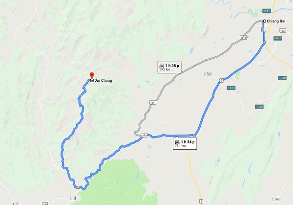 Bản đồ chỉ dẫn đến Doi Chang ngắm hoa anh đào ở Thái Lan