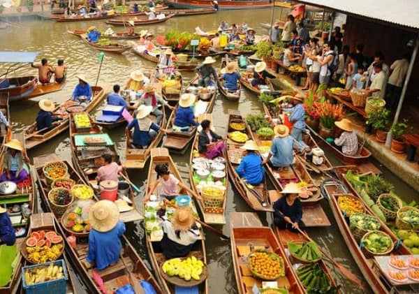 Tour du lịch Bangkok giá rẻ, tour kinh điểm khám phá chợ nổi Damnoen Sadauk