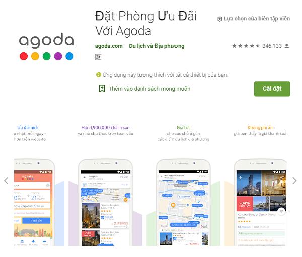 Ứng dụng du lịch Thái Lan, ứng dụng đặt phòng Agoda