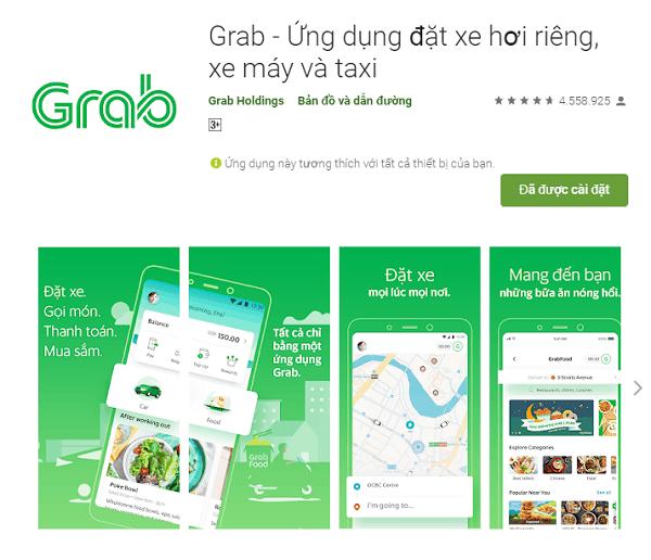 Ứng dụng du lịch Thái Lan: ứng dụng đặt xe Grab