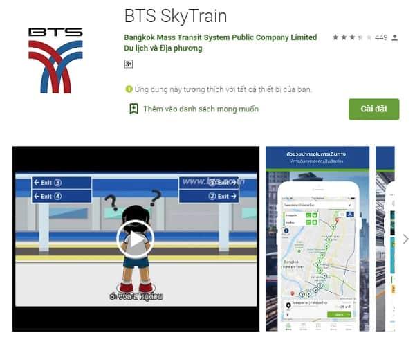 Ứng dụng du lịch Thái Lan, BTS Sky Train